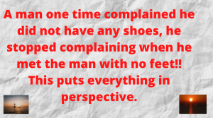 A man complaines he did not have any feet